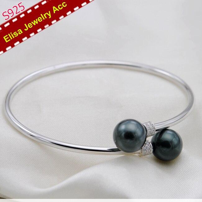 S925 Sterling Silver podwójne perły bransoletka biżuteria ustalenia kobiety perła DIY bransoletka komponenty 2 sztuk/partia w Wykończenia i elementy biżuterii od Biżuteria i akcesoria na  Grupa 1