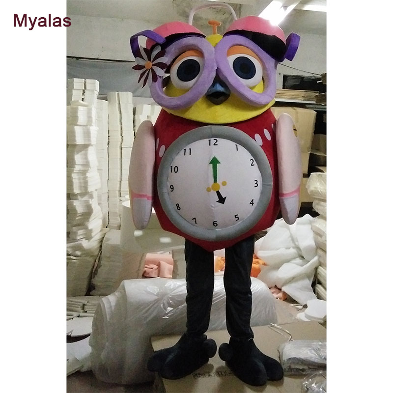 Owl Mascot Costume Alarm Clock Shape Fancy Dress Bird Carnival Costume For Adult Cosplay Kit Mascotte Theme