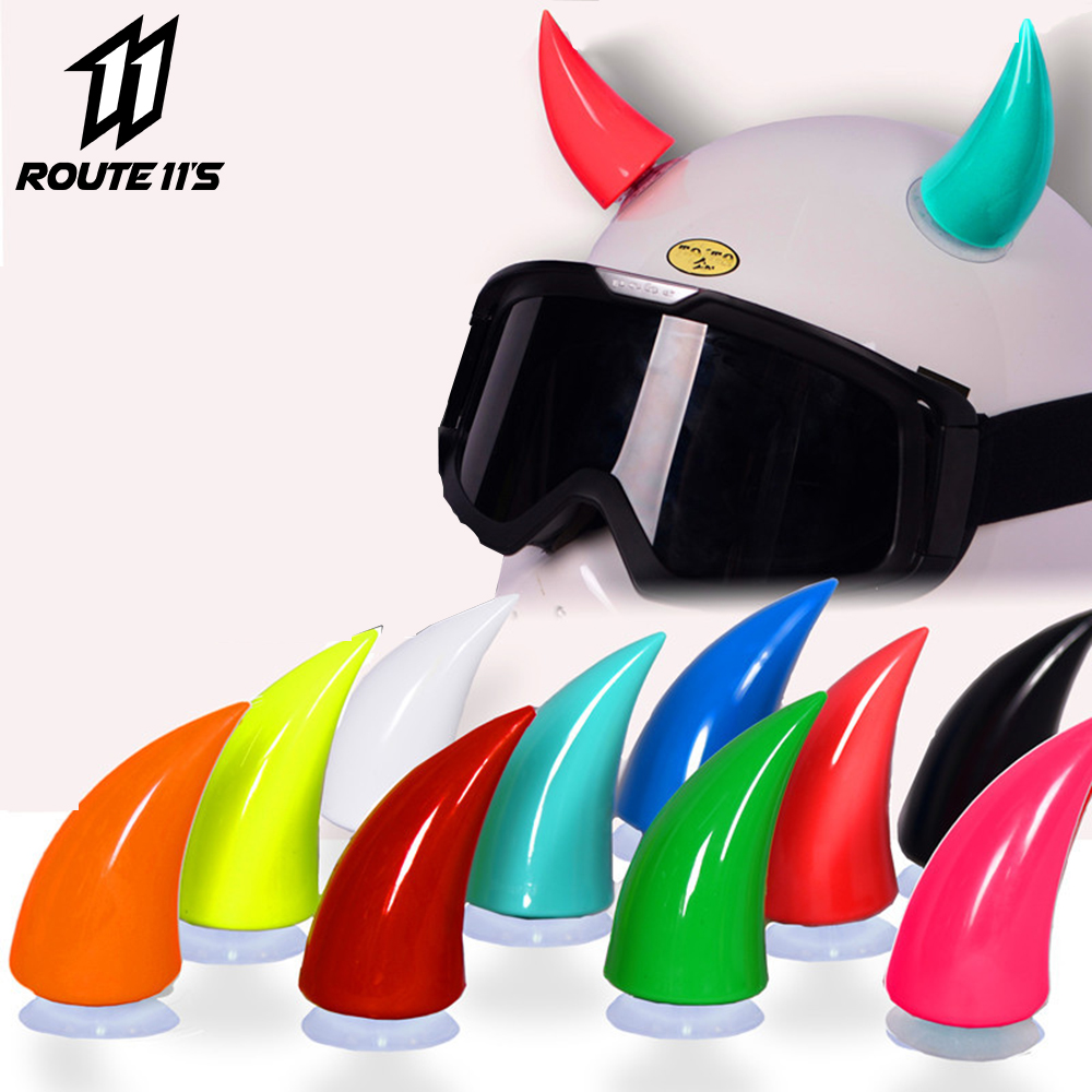 Motorcycle Helmet Horn Soft Plastic Motorbike Helmet Horns Sucker Personal Helmet Horn Decoration Headwear Sucker #
