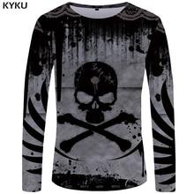 KYKU Skull T shirt Men Long sleeve Devil Funny shirts Hip Hop Printed Tshirt Casual Punk hop Graphic Mens Clothing