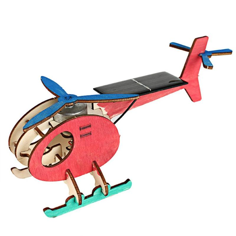 Childrens Gift Mini DIY Solar Energy Toy Plane 3D Wooden Puzzle Handmade Assembled Model ...