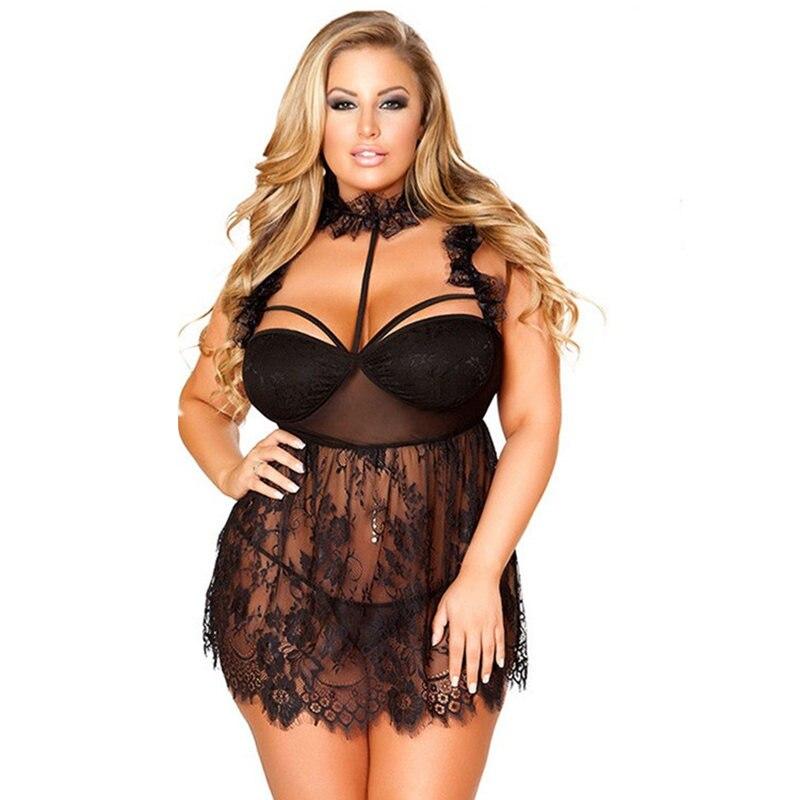 Women's Sex Underwear Plus Size Lingerie Sexy Hot Erotic Babydoll Dress Lace Transparent Halter Sleepwear Nightgown Porn Clothes
