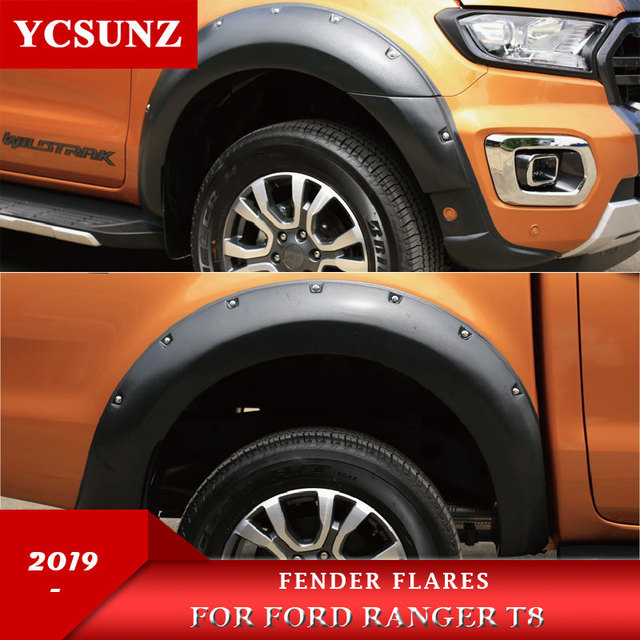 2019 Wheel Arch Fender Flares With Nuts Mudguards For Ford Ranger 2019 MK3 T8 Wildtrak Double Cabin 9 Inch NON Sensor Hole 1
