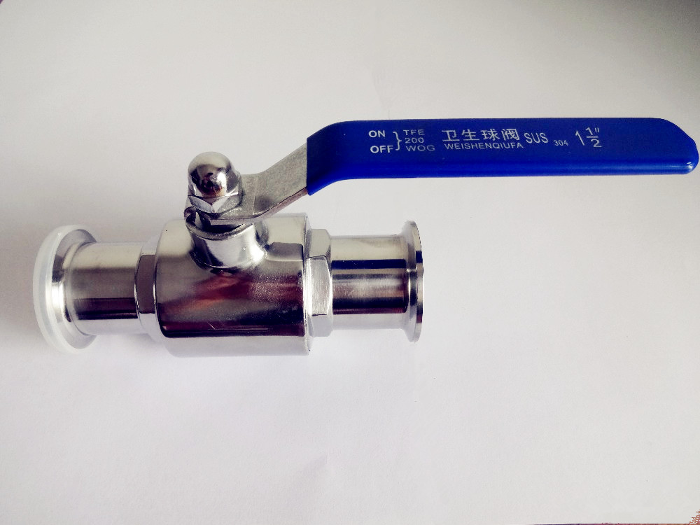 Free Shipping  2(51mm)Sanitary Stainless Steel Sanitary Tri-clamp Ball Valve SS304 OD64 1 dn20 sanitary stainless steel ball valve 3 way 316 quick installed food grade manual clamp ball valve handle t port valve