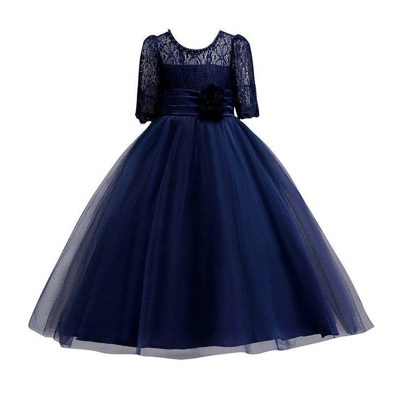 Image 4 - Vogueon платье принцессы на свадьбу; платье для девочек подростков летние с коротким рукавом для девочек в цветочек вечернее белое длинное платье со шнуровкой вечерние элегантный праздничный гала Концерт Платье-in Платья from Мать и ребенок