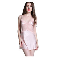 Ladies Sexy Silk Satin Nightdress Sleeveless V Neck Lace Nightgowns Onesie Sleepwear Nightie For Women Sexy