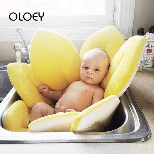 OLOEY Baby Bath Pad Flower Blooming Bath Infant Foldable Bathtub Pad Baby Sink Shower Newborn Play Mats Sunflower Cushion Mat