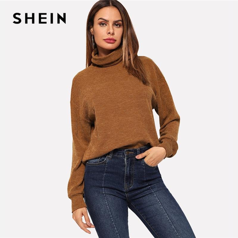 SHEIN Brown High Neck Solid Pullover Casual Long Sleeve Minimalist Sweatshirts Women Autumn Highstreet Plain Sweatshirt