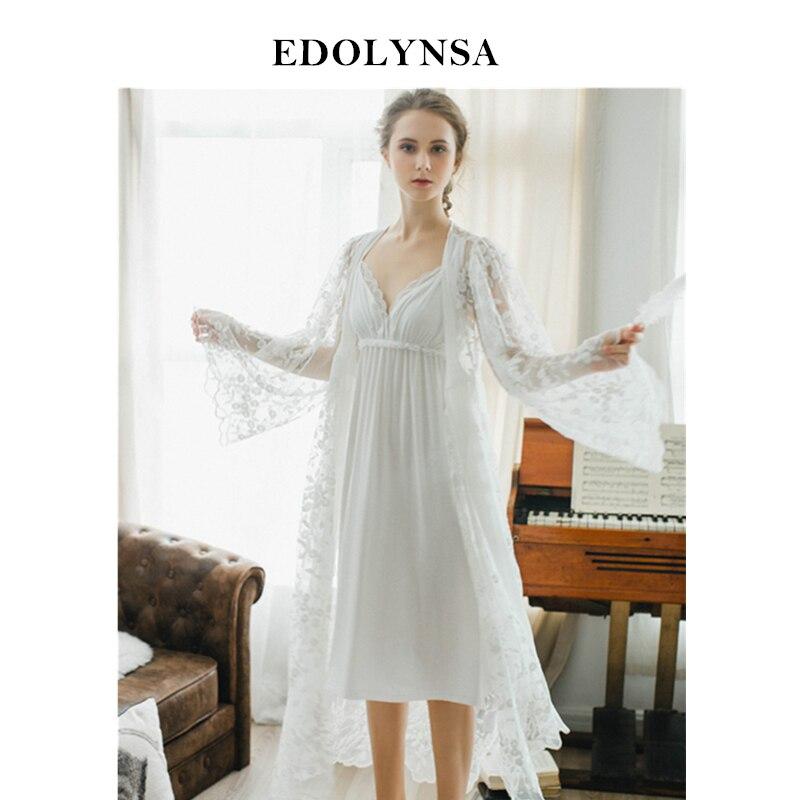 Lace Nightgowns Sleepshirts White Robes Set Bathrobe Sets Sexy Nightdress Bridesmaid Robes Set Peignoir Wedding Robe