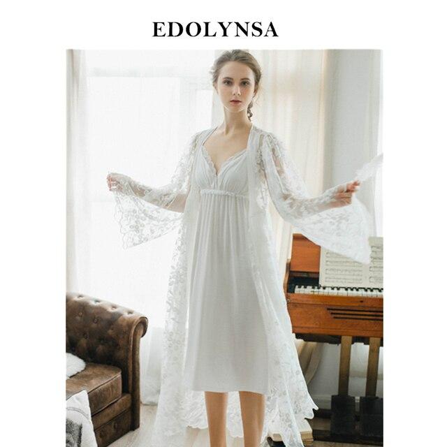 4866fcbb34052 Dentelle chemises de nuit chemises de nuit Robes blanches ensemble Peignoir  ensembles Sexy chemise de nuit