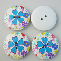 20PCS 30MM flower painting wooden buttons coat boots sewing clothes accessories MCB-135