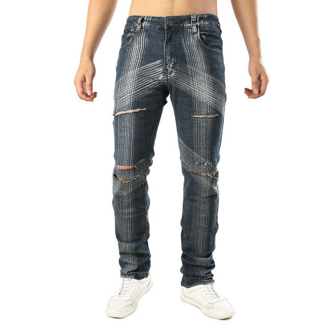 a2f84fdf838 QMGOOD Biker Jeans Mens Ripped Jeans Trousers Slim Distressed Hip Hop Denim  New Vintage Straight Stretch