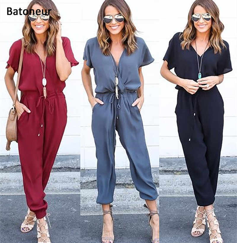 Summer Jumpsuits 2017 One Piece Pants Lapel Elegant Salopette Blue Long Trousers New Pattern Sexy Bandage Woman Red Jumpsuits