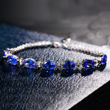 2017 New Fashion Chain Link Luxury Blue Crystal  Bracelets For Women Charm Jewelry