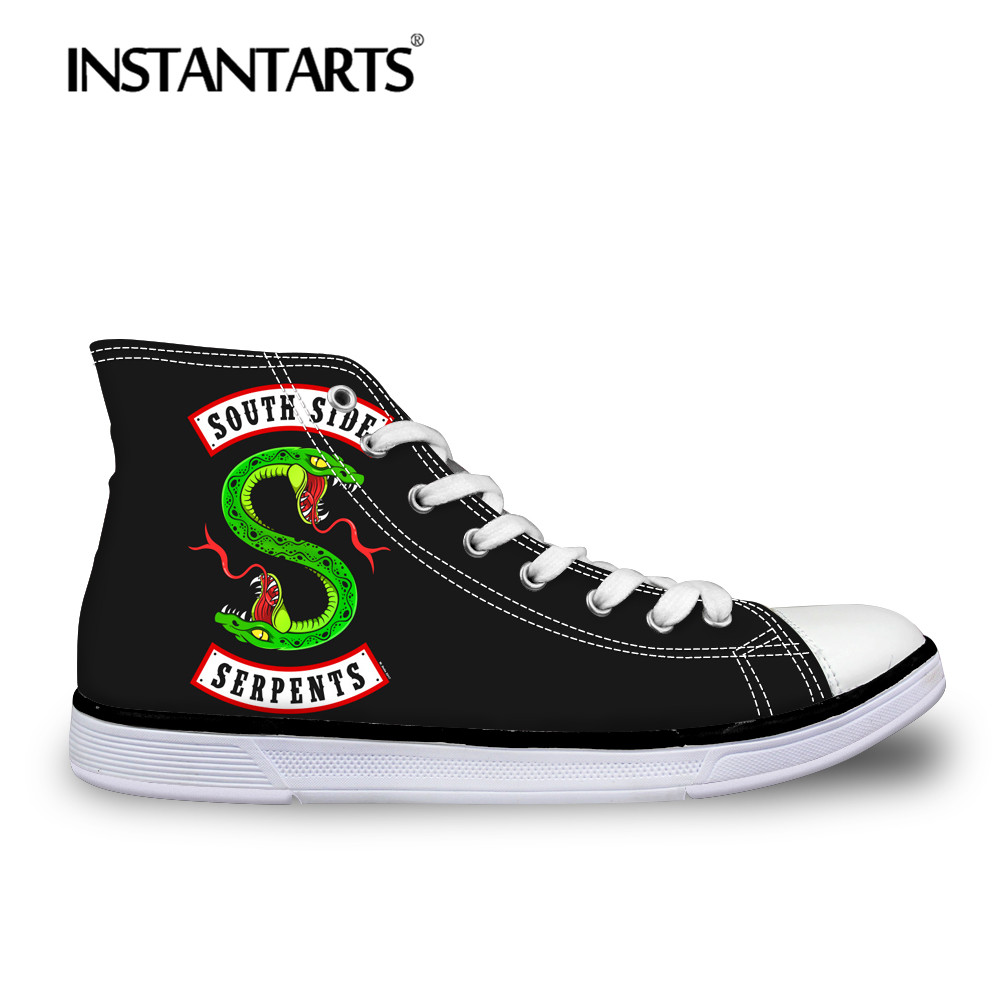 INSTANTARTS מפורסם גברים נעליים יומיומיות אופנה ריברדייל Southside נחשי הדפסת זכר תחרה לגפר גבוהה למעלה בד נעלי סניקרס