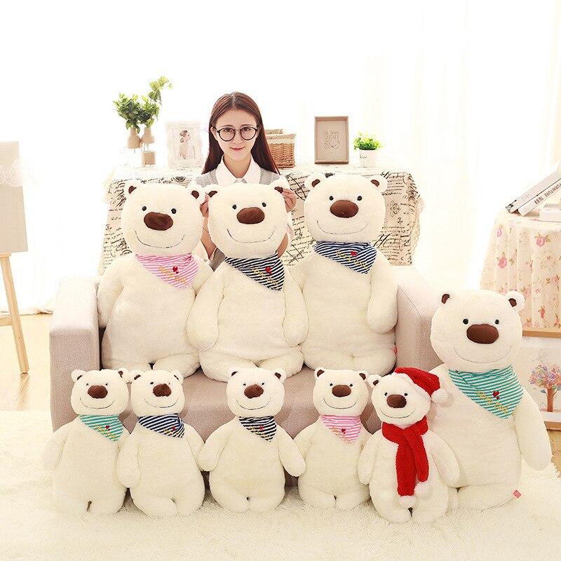 50cm lovely teddy bear plush toys soft stuffed polar bear plush dolls kawaii scarf teddy bear dolls children birthday gift 35cm lovely white brown polar bear plush toy lovely stuffed polar bear doll kids gift