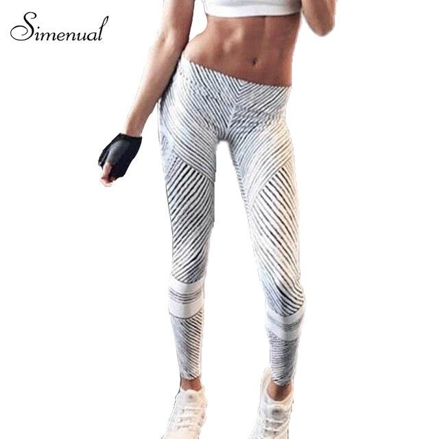 Harajuku fashion striped fitness slim legging athleisure elastic 2016 push up winter leggings for women black white jegging sale
