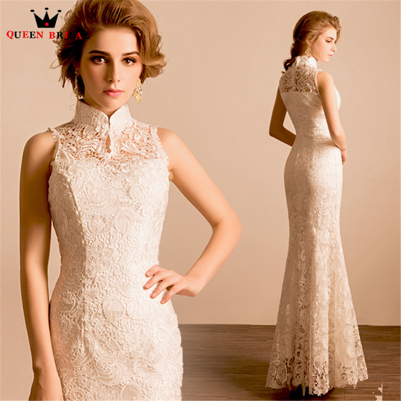 Queen Bridal Evening Dresses Mermaid High Neck Lace Sexy Long Formal