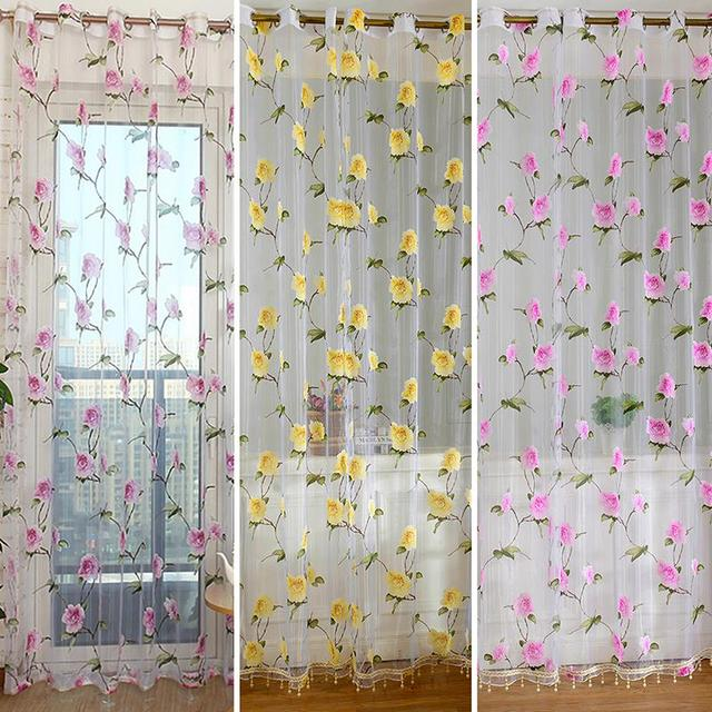 Best Price For Retro Floral Sheer Voile Door Window Curtain Drape Panel Tulle Valances