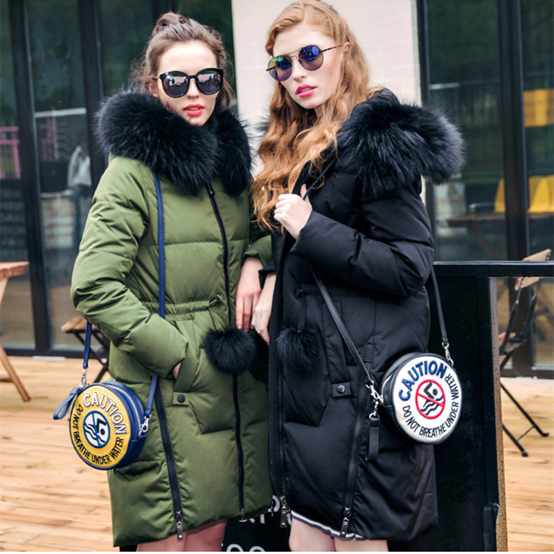 (TopFurMall)European Winter Women Down Parkas Coats with Raccoon Fur Hoody 80% Duck Down Lady Long Plus Size Overcoat 4XL LF4093