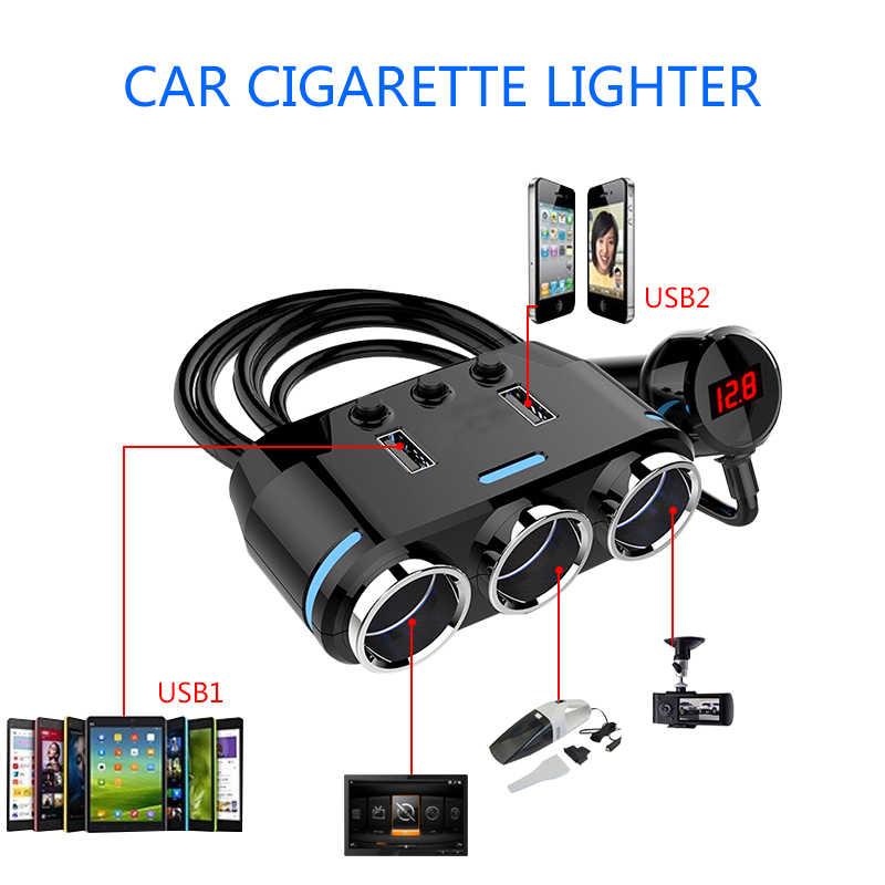 ACCNIC 2 USB Port 3 Way Car Cigarette Lighter Socket Splitter Charger DC 12~24V Cigarette Lighter Socket Black