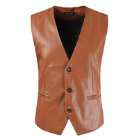 MarKyi fashion 2019 casual leather waistcoat men slim fit leather vest men motorcycle pu leather vest