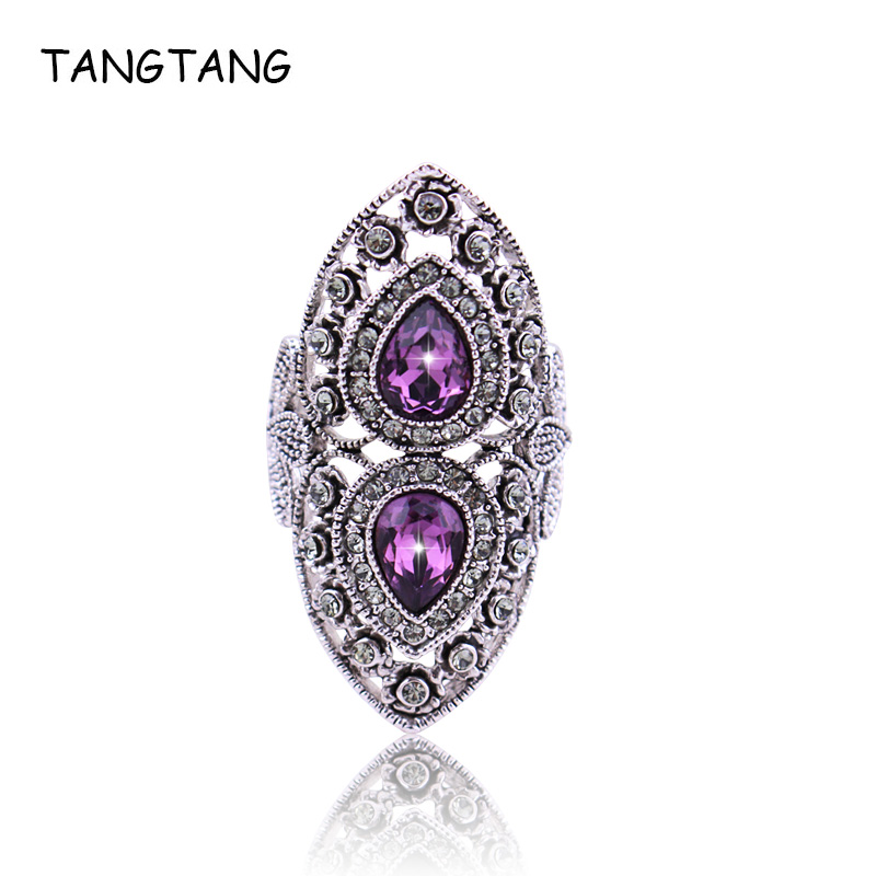 Luxury Antique Ring For Women Vintage Oval Style Wedding Jewelry Bohemian Silver Inlay AAA Purple Crystal Charm Punk Ring Mens