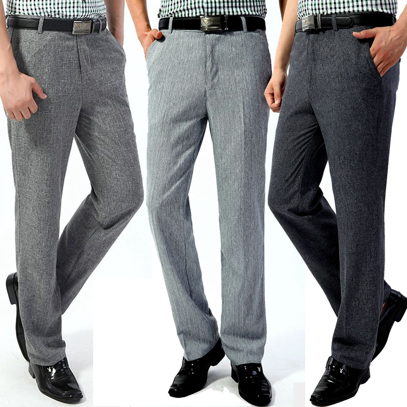 Linen Pants Long-Trousers High-Waist Business Loose Summer-Style Straight Men's Casual