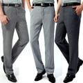 Летний стиль мужские повседневные брюки среднего возраста льняные брюки мужские брюки с высокой талией свободные деловые повседневные Прямые длинные брюки - фото