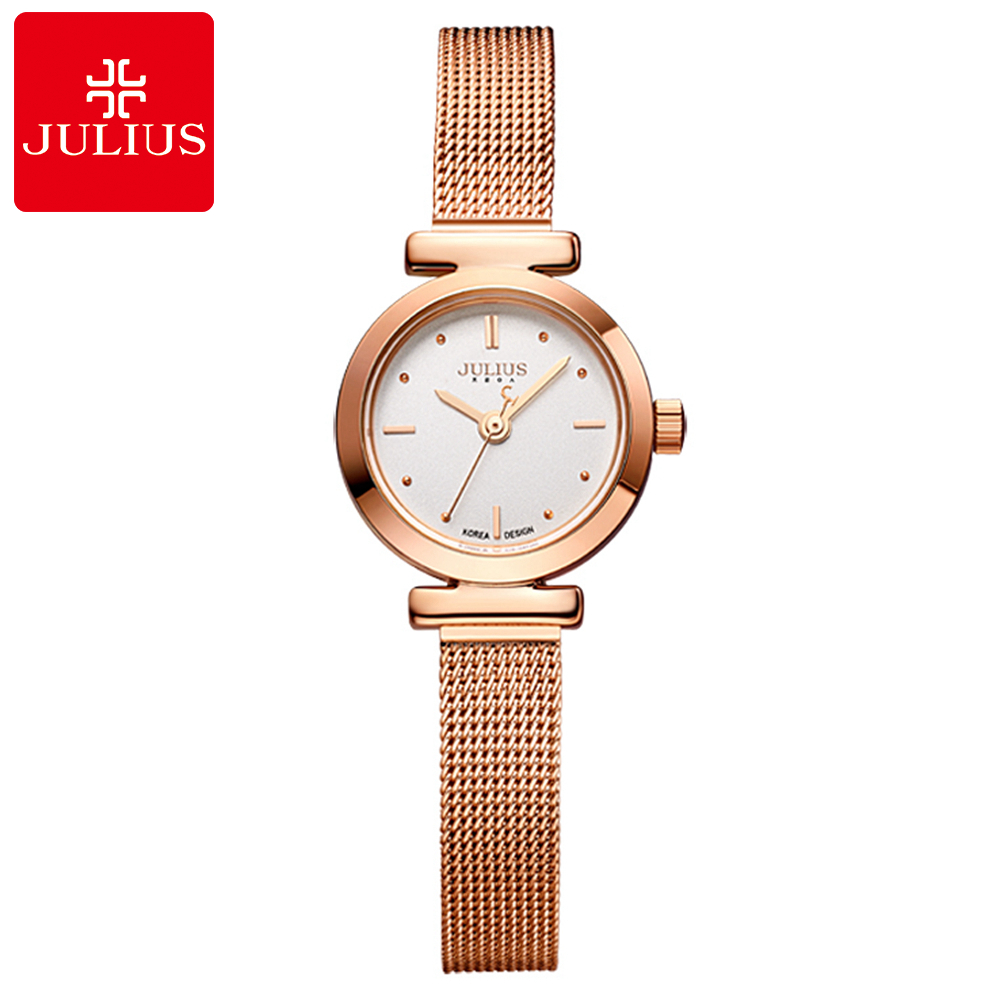 Women's Gold Silver Stainless Steel Bracelet Quartz Waterproof Watch Women Fashion Casual Round Analog Mesh Band Watches JULIUS