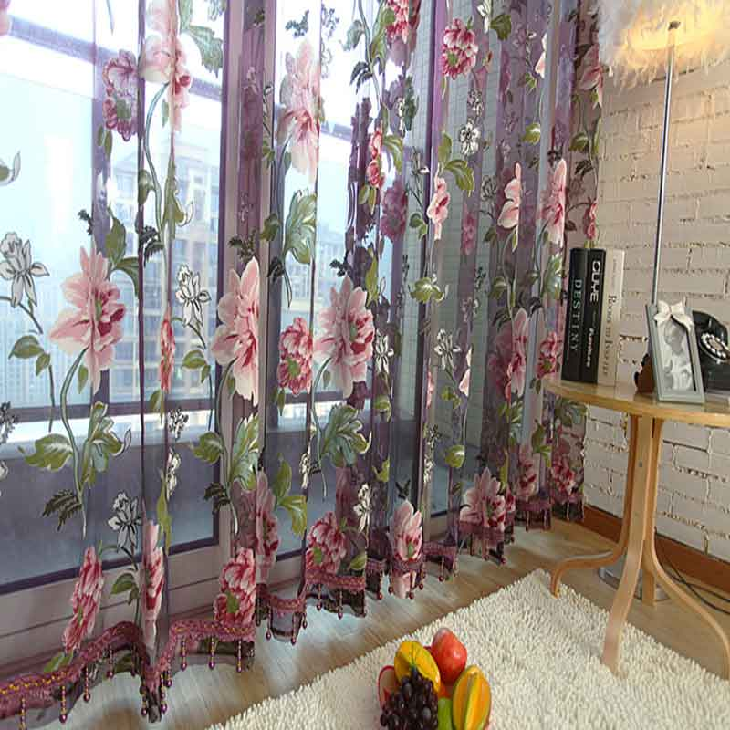 1 Pc Curtain And 1 Pc Tulle Peony Luxury Window Curtains: 1 Pc Flower Luxury Tulle Sheer Fabric 3D Curtains Lovely