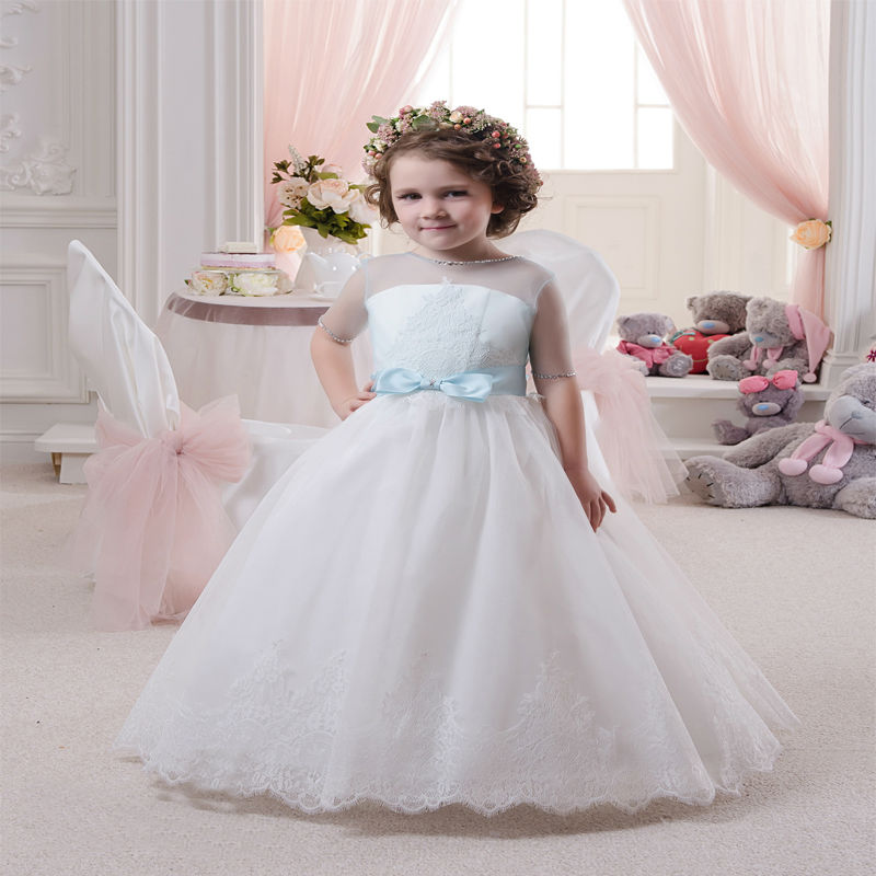 Short Sleeve Lace First Communion Dresses Ankle-Length Pageant Dresses for Girls glitz Ball Gown Flower Girl Dresses With Bow