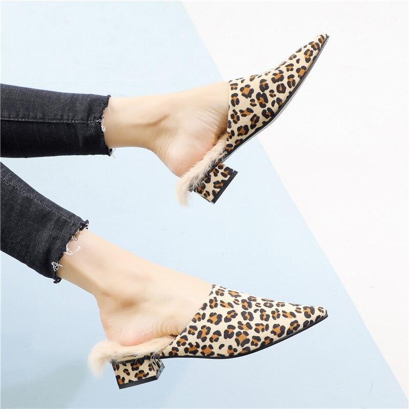 Air Daim Fourrure En Léopard Plein Bout Chaussures Mule Beige Pointu Femmes Imprimé Décontractées Pour Intérieur marron Confortable Décoration 6xqFdHw