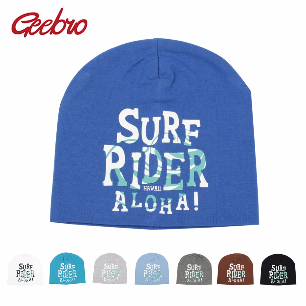 Geebro New Baby   Beanie   SURF RIDER Letter   Beanie   Hat For Boys Fall Casual Cotton Knitted   Skullies   Benanies For Children DQ008