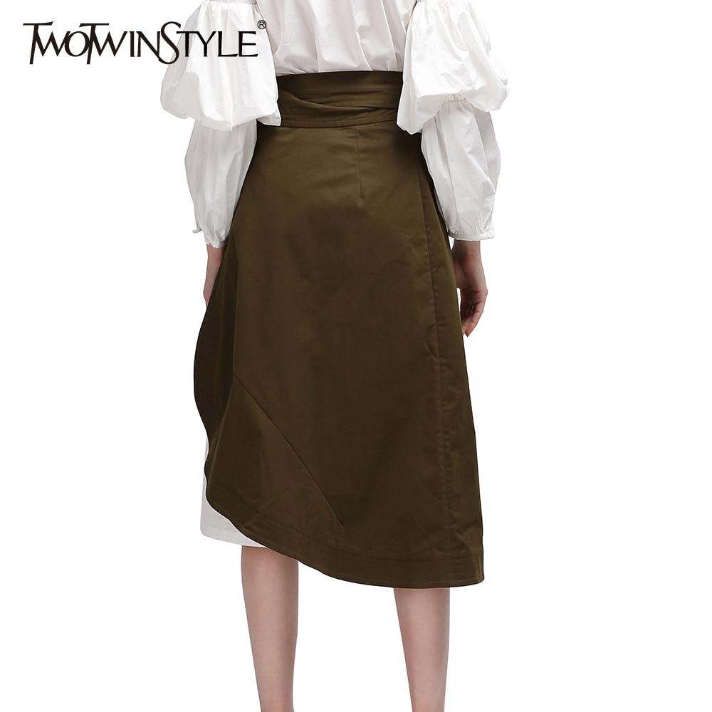 TWOTWINSTYLE Wrap Kadınlar Etekler Midi Fırfır Lace up Yüksek Bel - Bayan Giyimi - Fotoğraf 3