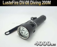 LusteFire DV 08 Professional Diving 3 x Cree U2 LED 4000 Lumen 200m Diving Flashlight Torch Light