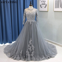 Arabic Long Sleeves Muslim Evening Dress Ball Gown Prom Dresses 2018 Kaftan Dubai Gray Beaded Lace Plus Size Formal Party Gowns