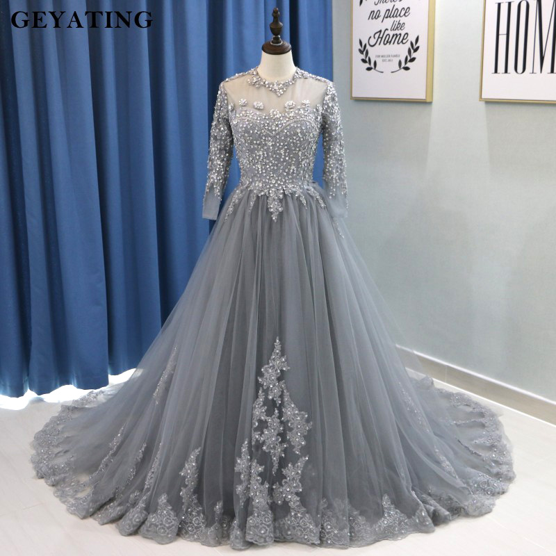 8255123e88c Arabic Long Sleeves Muslim Evening Dress Ball Gown Prom Dresses 2018 Kaftan  Dubai Gray Beaded Lace Plus Size Formal Party Gowns-in Prom Dresses from ...