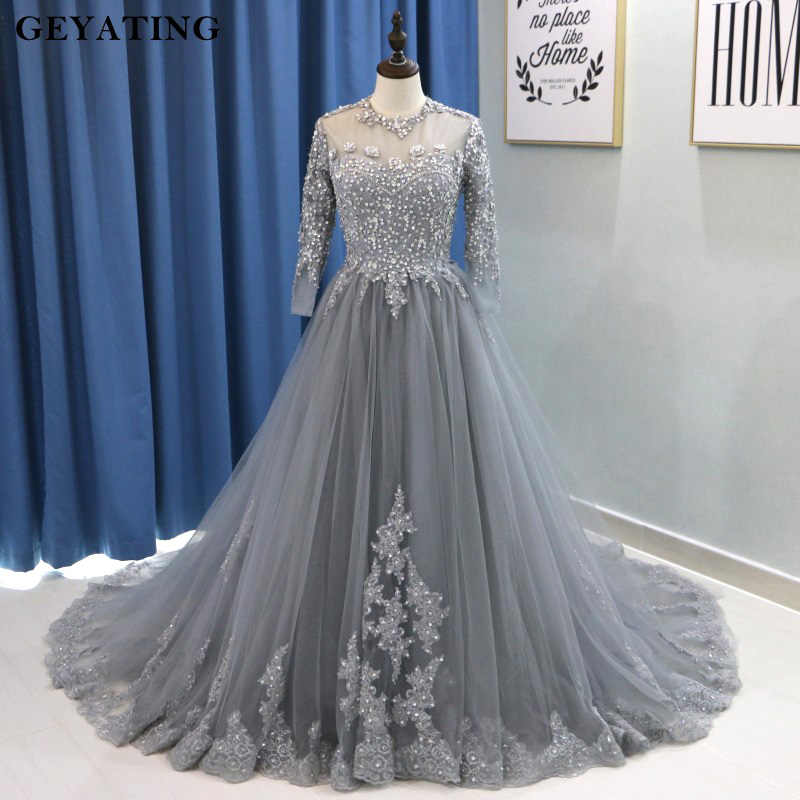 de8af32212 Detail Feedback Questions about Arabic Long Sleeves Muslim Evening Dress  Ball Gown Prom Dresses 2018 Kaftan Dubai Gray Beaded Lace Plus Size Formal  Party ...