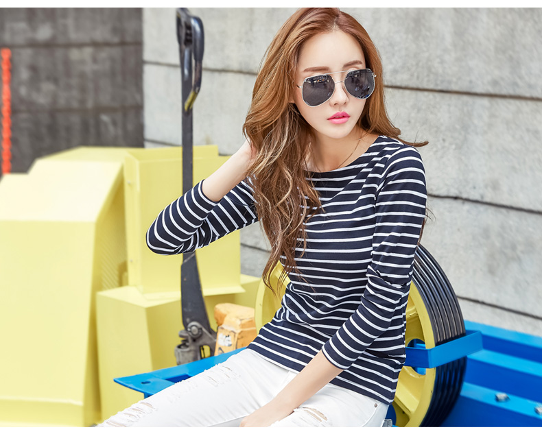HTB15.ZvpGmWBuNjy1Xaq6xCbXXas - Soperwillton Cotton T-shirt Women New Autumn Long Sleeve O-Neck Striped Female T-Shirt White Casual Basic Classic Tops #620