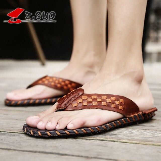 Summer Genuine Leather Men Flip Flops Fashion Weave Slippers Men Beach Shoes 2019 Leisure Fashion Flat Sandals Male Totem Slides