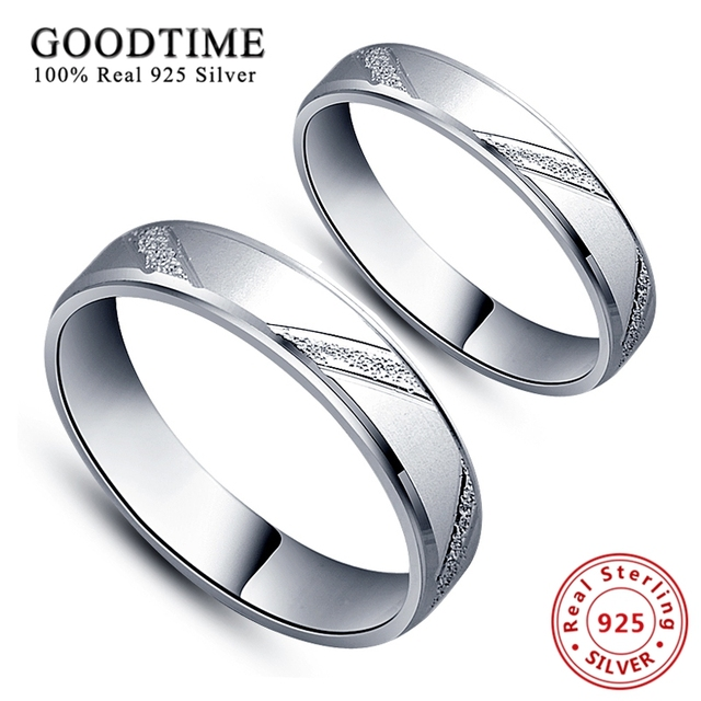 1PCS Rings 925 Sterling Silver Jewelry Simple Style Lovers' Ring Micro Scrub Wed