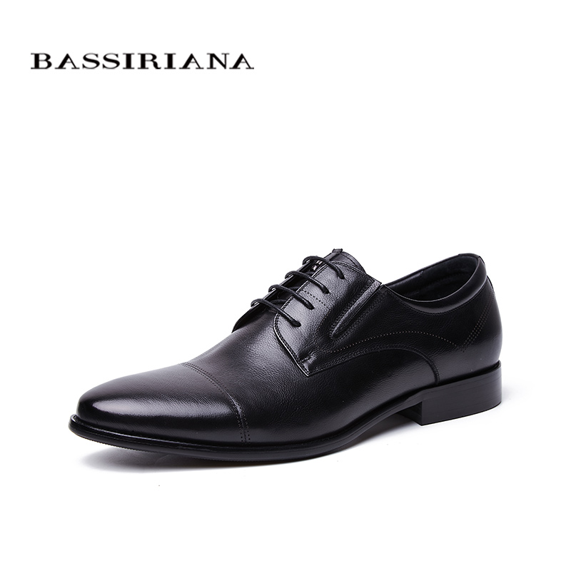 BASSIRIANA Business Genuine leather Shoes men formal Lace up Spring Autumn Black Brown 39 45 Russian