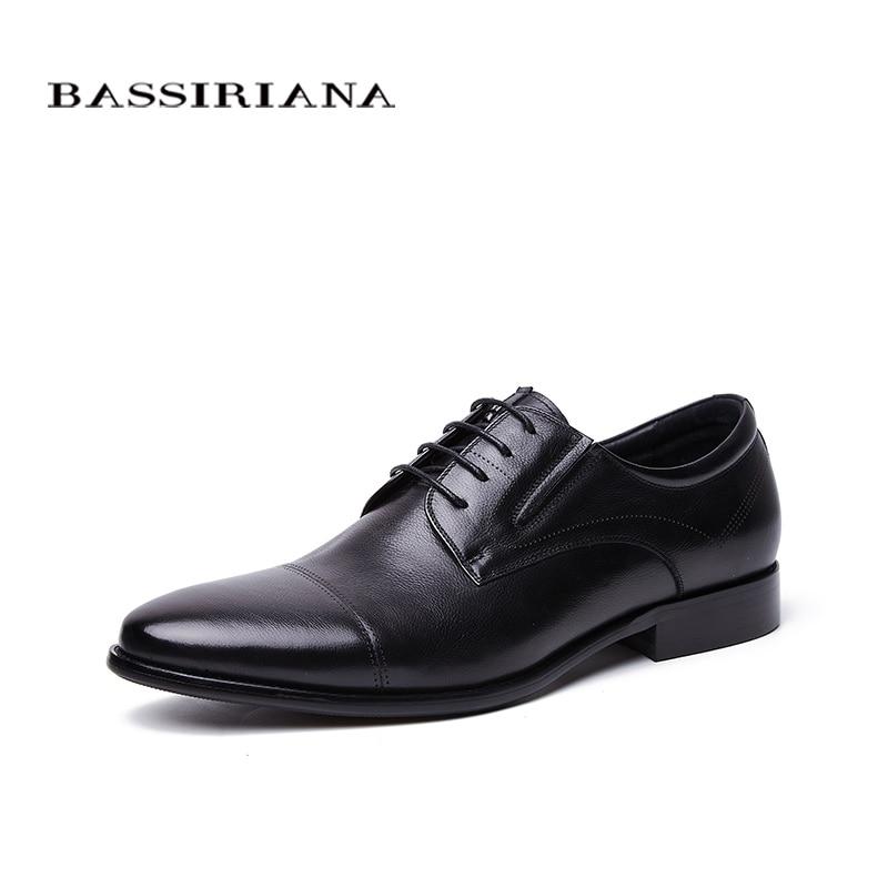 BASSIRIANA الأعمال حقيقية أحذية من الجلد الرجال الرسمي الدانتيل متابعة الربيع الخريف الأسود البني 39 45 الروسية حجم اليدوية-في أحذية رسمية من أحذية على  مجموعة 1