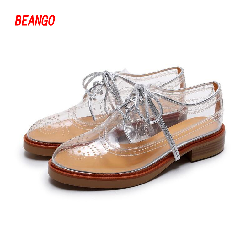 ФОТО BEANGO 2017 summer new women leather trimmed PVC brogue shoes Women Transparent Lace Up Summer Leisure Woman sandals shoes
