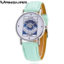 Vansvar Model La Lune Le Soleil Montre Girls Informal Quarzt Watch Trend Wristwatch Women Watch Clock Relogio Feminino Reward V11