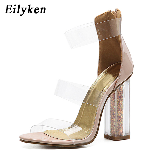 218fbe20fcc1c5 Eilyken 2018 Sexy Kim Kardashian Perspex Heels Buckle Strap Clear Bling  Followed by the Women Sandals