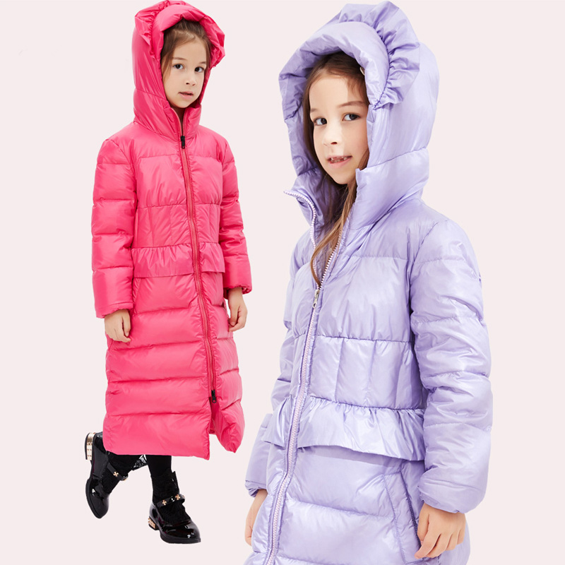 2016 New Children Girls Down Jackets Kids Winter Warm Coats Princess Outwears Solid Colors Clothes Long Clothing 80% Duck Down 2017 fashion boy winter down jackets children coats warm baby cotton parkas kids outerwears for