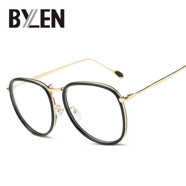 BYLEN Oval Oversized Glasses Frames Women Brand Designer Eyeglasses ...