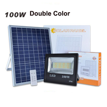 5PC/lot 100W Solar Flood Light Double Color Powered LED Spot Outdoor Remote Control